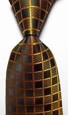 New Classic Checks Black Gold JACQUARD WOVEN 100% Silk Men's Tie Necktie