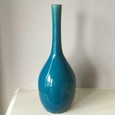 Large Antique Chinese turquoise monochrome bottle vase KangXi - 30cms tall VGC