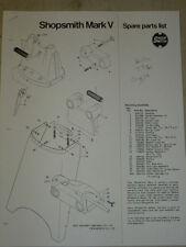 1979 SHOPSMITH MARK V SPARE PARTS LIST