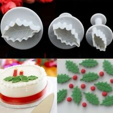 3pcs Leaf Cookie Plunger Cutter Fondant Cake Pastry Decorating Sugar Craft Mold