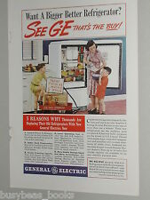 1940 General Electric ad, Refrigerator, Mom & sons