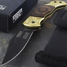 "5.25"" MINI TACTICAL WOOD HANDLE BRONZE FOLDING POCKET KNIFE w/ POUCH Open Assist"