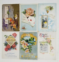 Lot of 6 Antique Greetings Postcards 1910s Stamped Cancelled