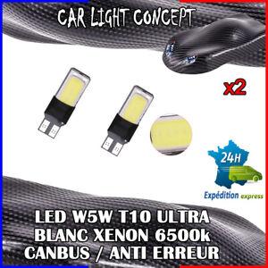 2 x ampoule Veilleuse LED W5W T10 ULTRA BLANC XENON 6500k voiture auto moto