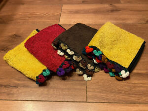 4 Multicolour Artisan 100% Cotton Hand Towels Handmade And Hand Embroidered