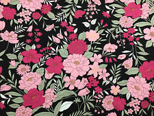 """Noir & Rose """" Lilly """" Imprimé Floral 100% Coton Popeline Tissu"""