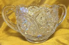 Vtg Ornate Pressed Clear Glass Notched Double Handle Sugar Bowl w Sawtooth Rim
