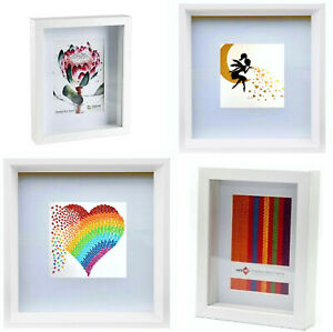 3D White Deep Shadow Box Photo Picture Frame Art Work Canvas Display A4 Large ++