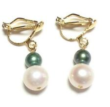Genuine White & Dark Green Pearl 18K YGP Clip on Earrings