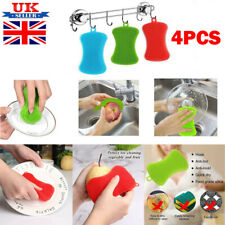 4PCS Silicone Dish Washing Cleaning Brush Sponge Kitchen Cleaner Pad Scrubber TO