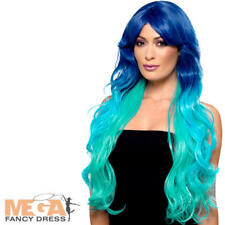 Long Wavy Mermaid Ombre Wig Ladies Fancy Dress Womens Adult Costume Accessory