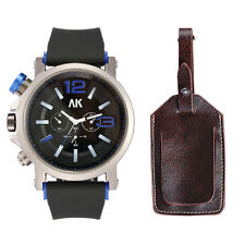 AK Men Fashion Gift Set Analog Black Rubber Sport Watch Faux Leather Travel Tag