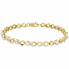 "10k Yellow Gold Ladies Round Diamond Infinity Link Tennis Bracelet 7"" (0.25 Ct.)"