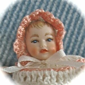 HEIDI OTT BABY DOLL MINIATURE DOLHOUSE  2 INCHES WHITE WITH PINK TRIM
