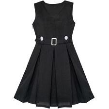 Us Stock! Girls Dress Black Button Back School Uniform Pleated Hem Size 6-14