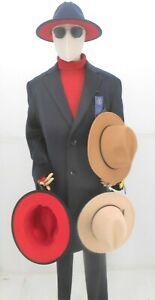 Black, Navy Blue, Khaki, Camel, Red Bottom Men's, Women's Fedora Hat $29.99
