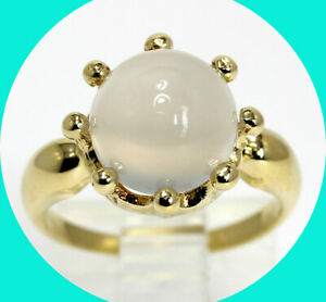 4.30CT moonstone ring 18K YG round cabochon gem sz 5.75