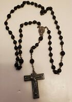 VINTAGE OLD EBONY FRANCE ROSARY CRUCIFIX CROSS CHRISTIANITY RELIGION BLACK BEAD
