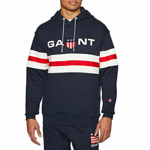 Gant Retro Shield Relaxed Mens Hoody - Evening Blue All Sizes