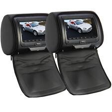 "2 x Universal Multi-media DVD Player Black Car Headrest Dual Twin Monitor 7"" HD"