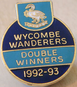 WYCOMBE WANDERERS FC 1992-93 DOUBLE WINNERS Badge Brooch pin In gilt 26mm x 31mm