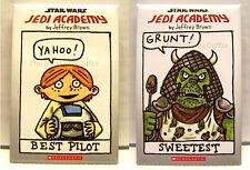 Star Wars Buttons Scholastic Jedi Academy Luke Best Pilot & Gamorrean Sweetest