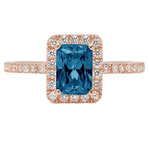 1.85 Emerald London Blue Topaz Promise Bridal Wedding Classic Ring 14k Rose Gold