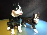 2 RARE STAFFORDSHIRE TERRIER DOG FIGURINES Porcelain Black & White ROYAL