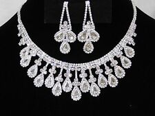 Bridal Silver W. Clear Rhinestone Crystal Necklace and drop Earrings Set