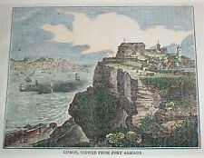1845 PORTUGAL Hand-colored Antique Engraving , Medieval Castle Almada , Lisbon