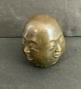 4 Face Buddha Head Statue — Brass, Vintage, Chinese — Happy, Sad, Angry, Excited