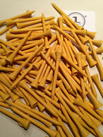 """100 JL Golf yellow wooden tees 69 / 70mm long (2 3/4"""") *NEW* Xmas gift  fathers"""