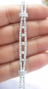 Platinum NATURAL Diamond 2-Row TENNIS Bracelet PT950 6.26Ct