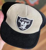 Vintage 80s Oakland Raiders Las Vegas Corduroy Hat Cap NFL RARE Football Black
