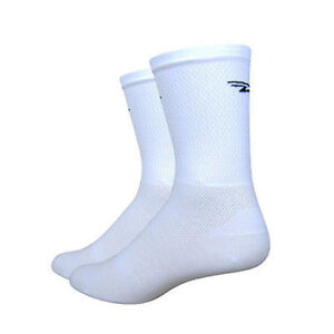 "DeFeet Levitator Lite 5"" D-Logo White Cycling Athletic Socks Size Small"