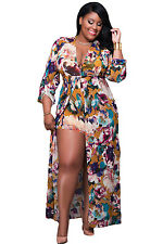 New Sexy Ladies Floral Print Sleeved Plus Size Romper Maxi Dress 16 18 20 22 24