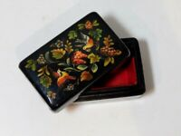 Hand Painted Vintage Russian Lacquer Papier Mache Flowers Bird  Box