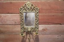 VINTAGE BRASS CANDLE HOLDER WITH MIRROR 3 ARM LION HEAD ART NOUVEAU!