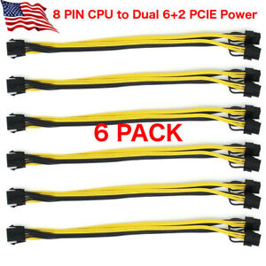 6 pack CPU 2 GPU EPS 12v 8 pin to Dual 6+2 pin PCI-E Power Cable Splitter 18 AWG