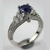 1.50Ct Blue Sapphire Round Diamond Antique Vintage Engagement Ring In 925 Silver