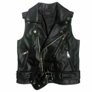 Womens Leather Waistcoat Sleeveless Jacket Ladies Faux Gilet Biker Vintage