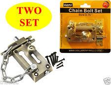 Two Heavy-Duty Combination Door Chain Safety Lock & Bolt Lock Guard Latch Set
