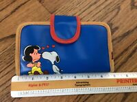 Vtg 1950s Snoopy Beagle Peanuts Charles Schulz Blue Leather Wallet Clutch Coin