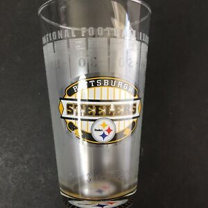 Pittsburgh Steelers NFL Frosted Glasses Football Field Image Color Logo Set of 6