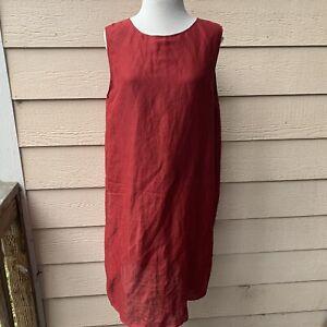 Eileen Fisher Sheer Shelf Shell Red Silk Linen Tunic Sleeveless Women Casual L