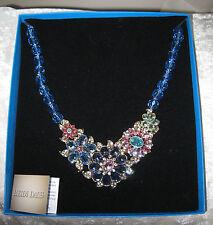 "Heidi Daus Glorious Garden Swarowski Sapphire 18"" Bib Necklace 2016 MIB"