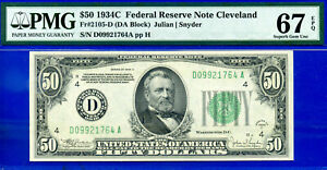 TOP POP 1/0 COMBINED - 1934-C $50 FRN (( Finest Known )) PMG 67EPQ # D09921764A.