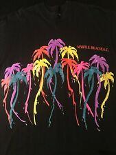 Vintage 90s Myrtle Beach South Carolina T-Shirt Neon Palm Tree 2-Sided