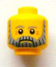 LEGO - Minifig, Head Beard Gray and Black, Gray Eyebrows - Yellow