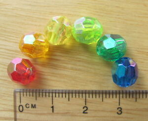 75 8mm faceted AB transparent beads plastic acrylic red orange yellow green blue